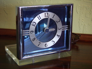 Art deco blue mirror, chrome and lucite alarm clock.