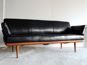 Peter Hvidt Leather Sofa France and Daverkosen