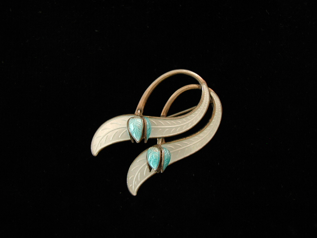 Enamel on Sterling Norway Brooch