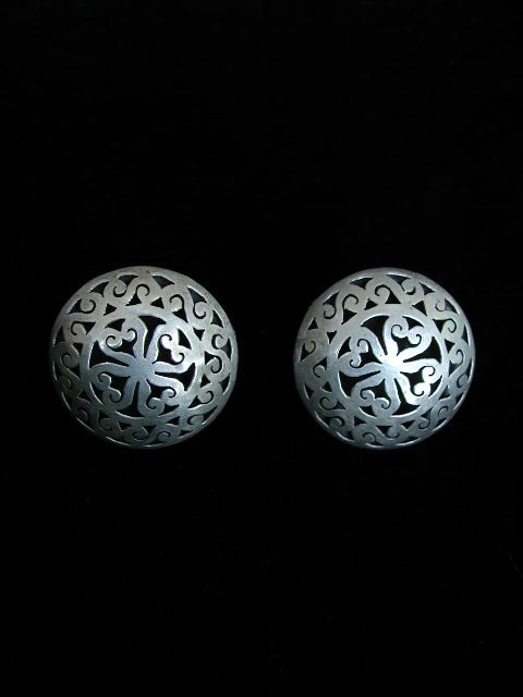Mexican Sterling Hollow Cutwork Earrings