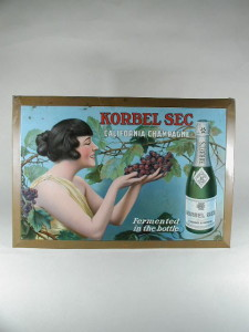 Printed Tin Litho Store Display Korbel Sec