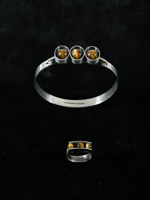 Finnish Tiger Eye Bracelet And Ring Set
