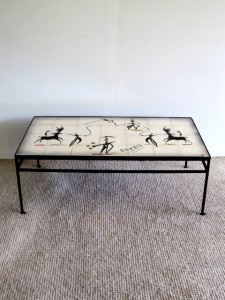 Tye of California Ceramic Tile Top Coffee Table