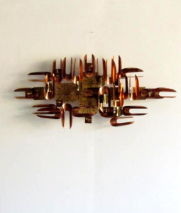 W. Vose Brass Copper and Enamel Wall Sculpture