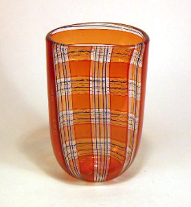 Robin Mix Caned Art Glass Vase